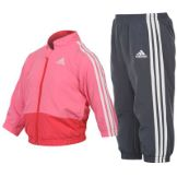 adidas 3S Woven Jog Suit Infant Girls UltraPink/White