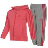 adidas Hooded Jog Suit Infant Girls Pink/MedGrey