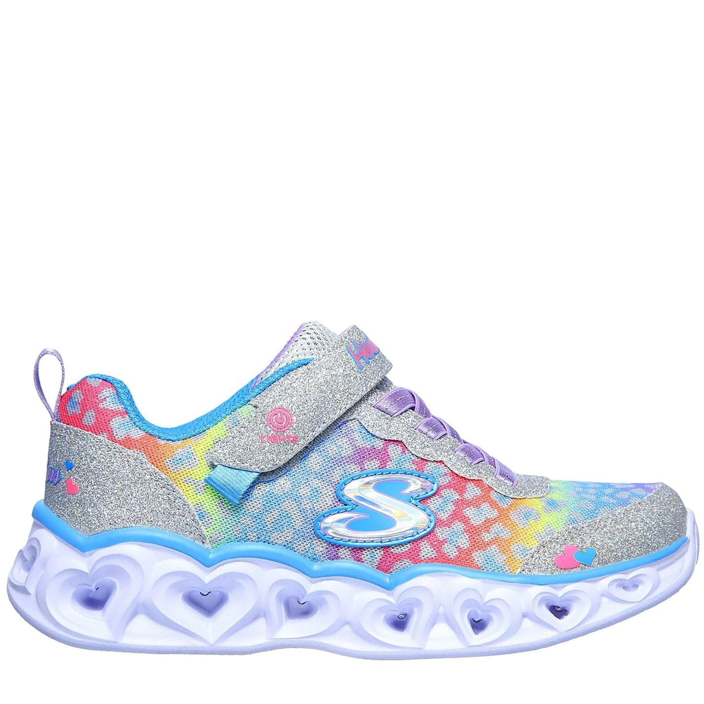 Skechers Heart Light Up Trainers Child Girls Silver/Multi