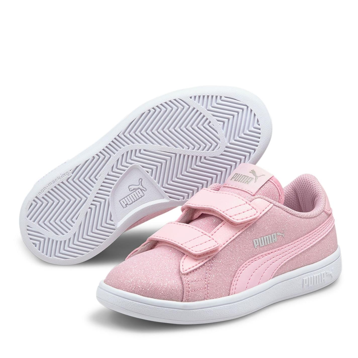 Puma Smash Glitz Court Trainers Child Girls Pink Lady