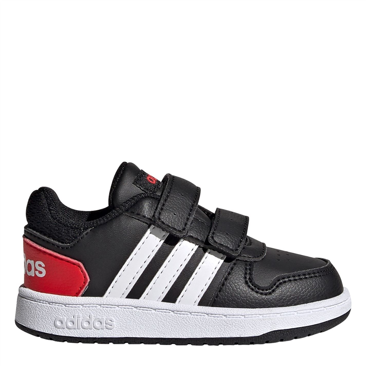 adidas Hoops Court Infant Boys Trainers Black/White/Red