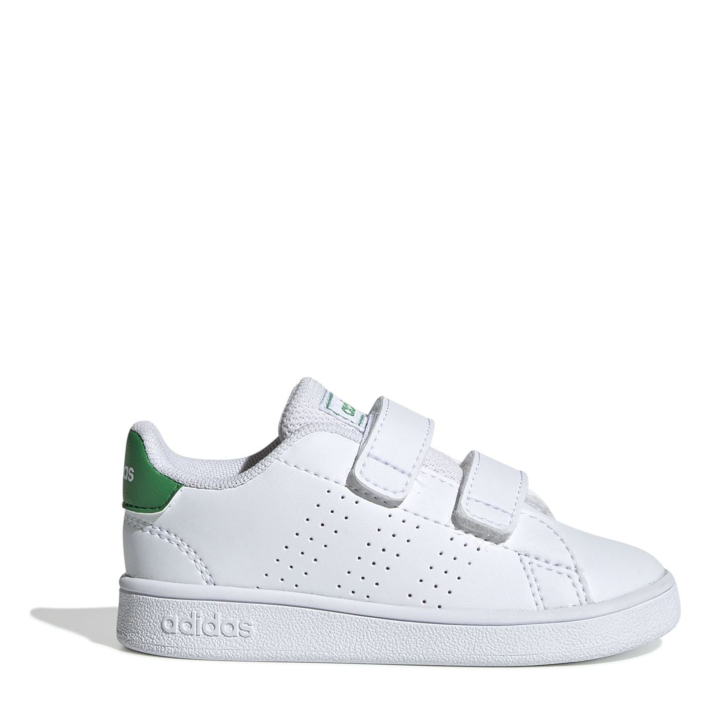 adidas Advantage I Infant Trainers Cloud White / Green / Grey Two