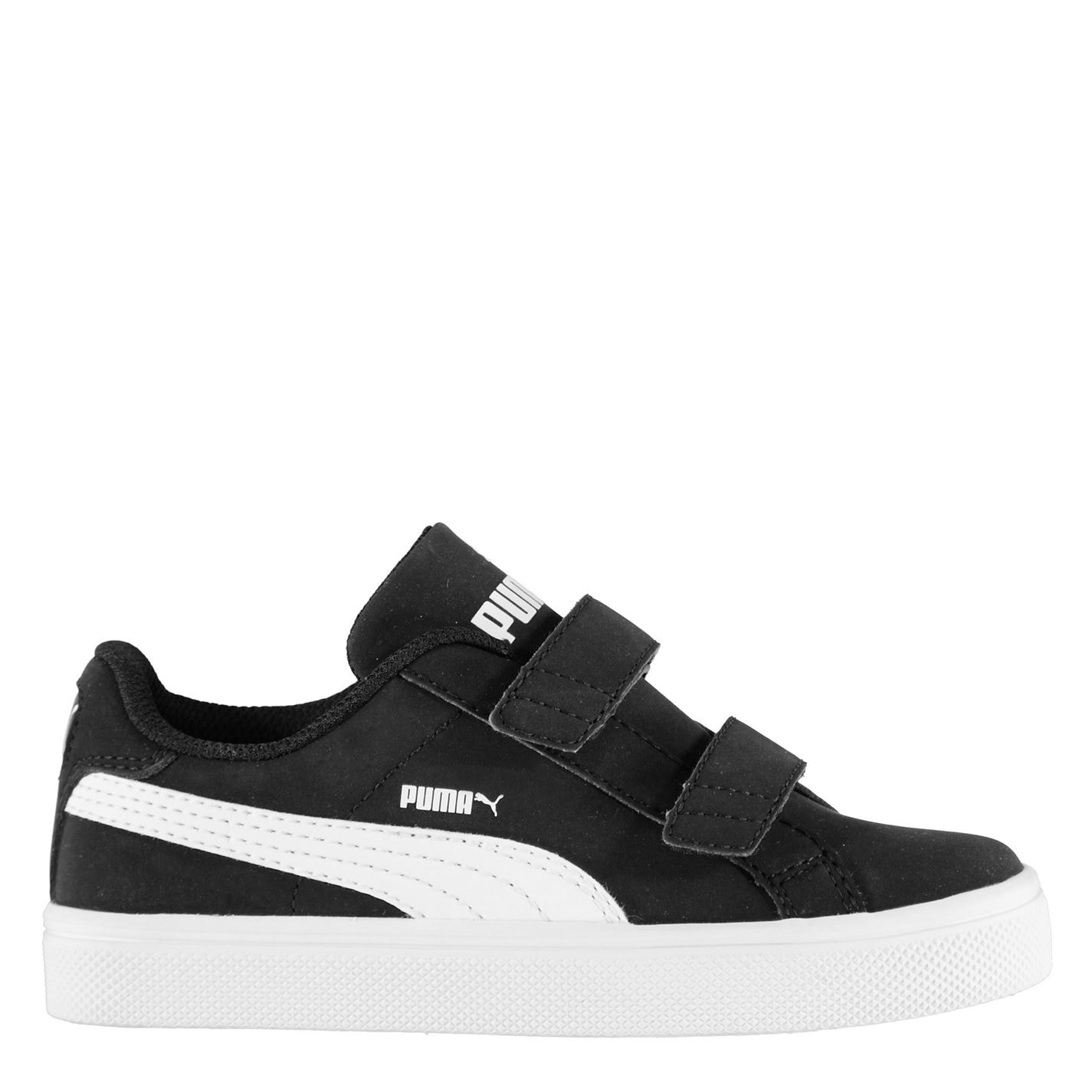 Puma Smash Vulc Infant Boys Trainers Black/White