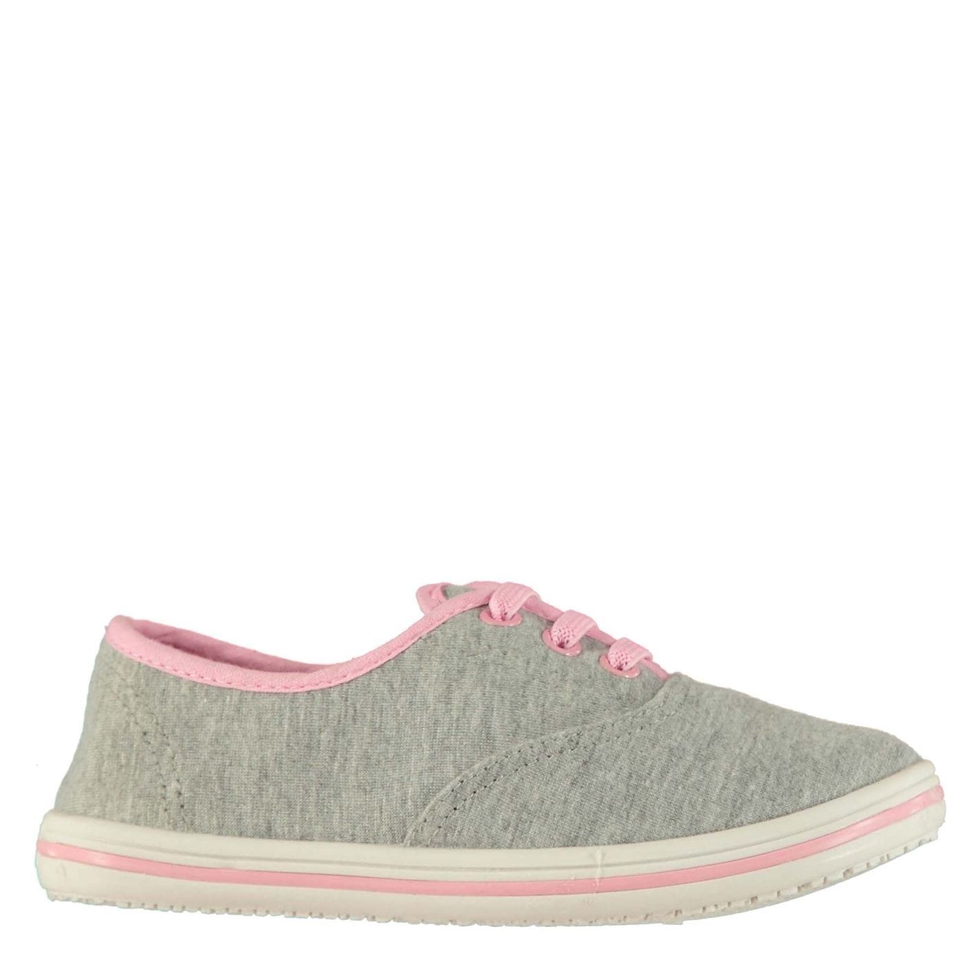 Slazenger Infants Canvas Pumps Grey Marl/Pink