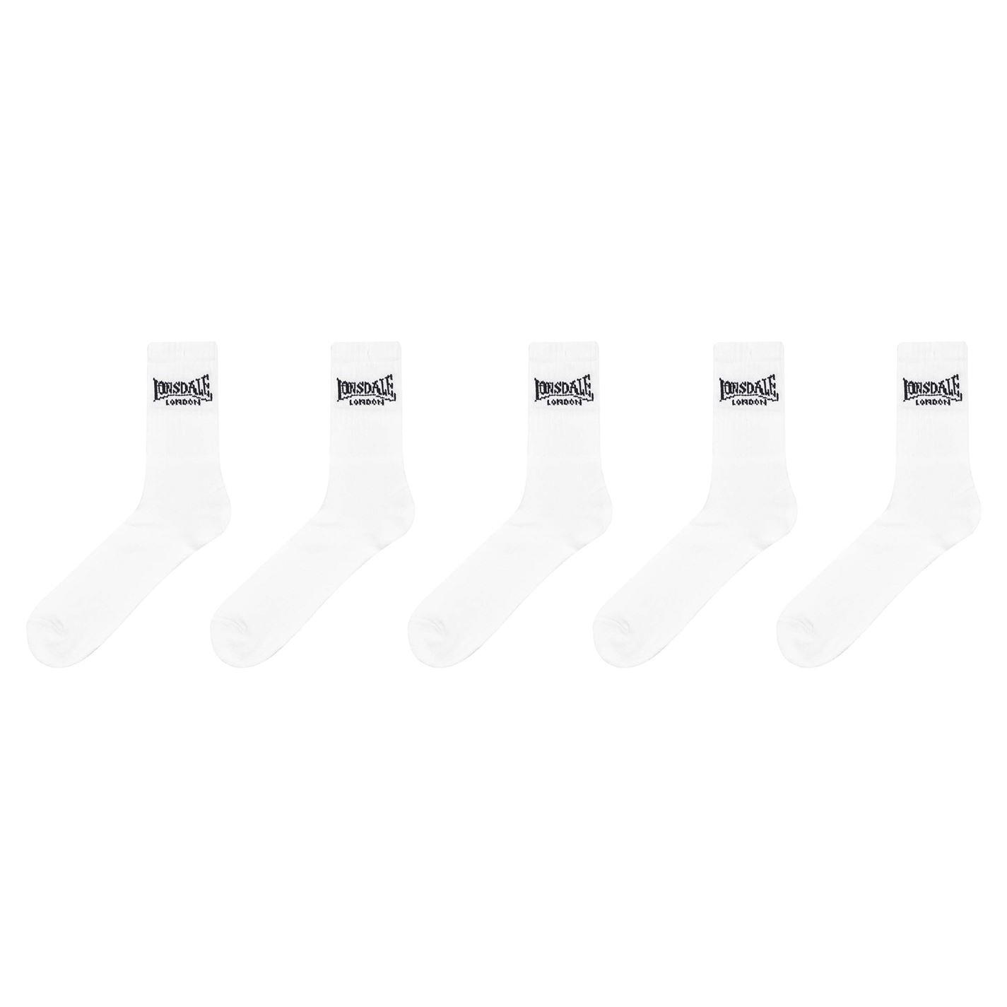 Lonsdale 5 Pack Crew Socks Mens White