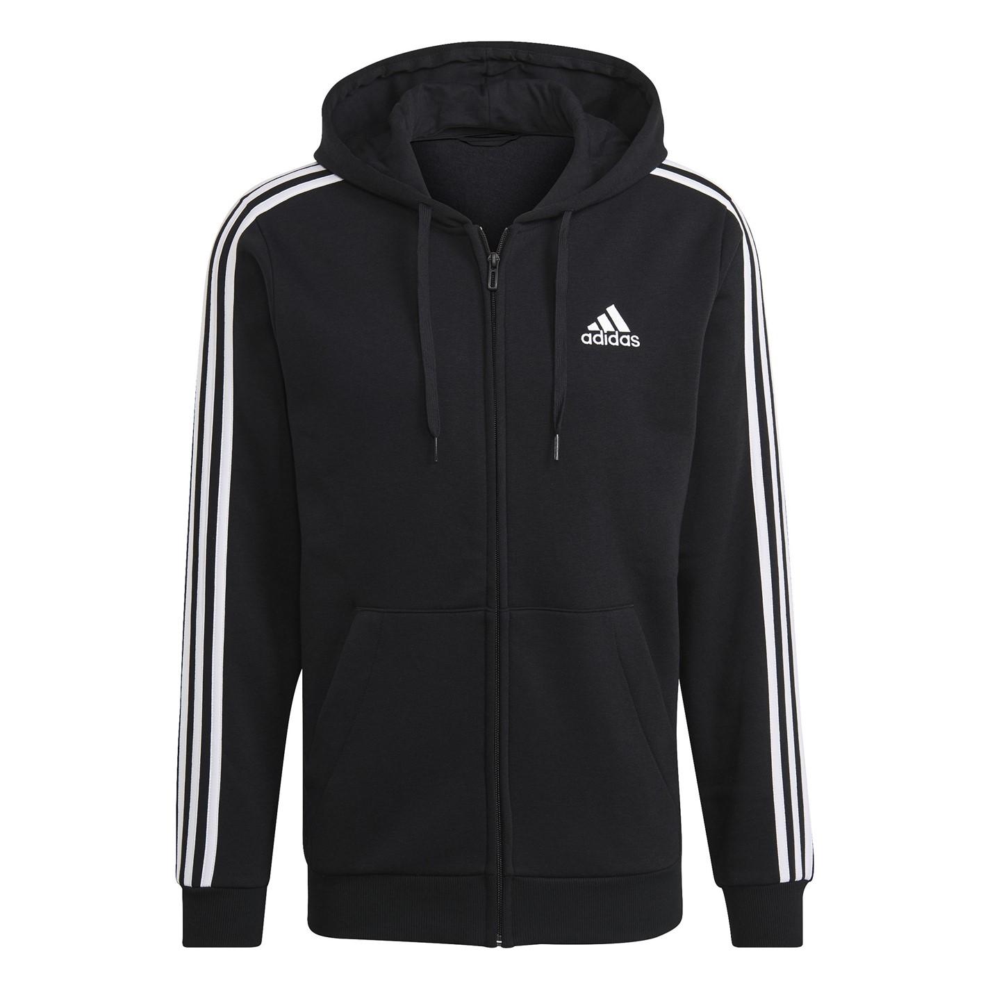 adidas 3 Stripes Zip Through pánská mikina Black White f737bba0d80