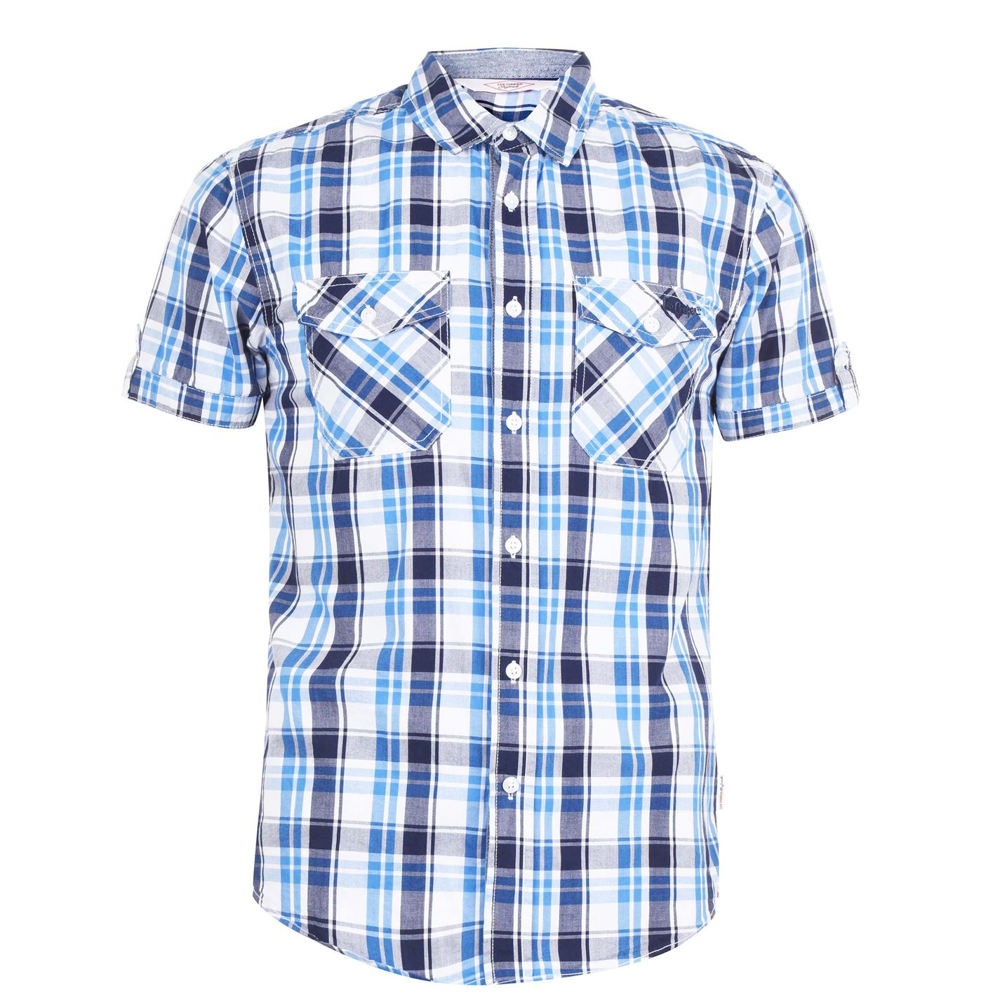 Lee Cooper SS Check Shirt Mens White/Navy/Blue