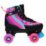 No Fear Retro Quad Girls Roller Skates Blk/Pnk/Purp