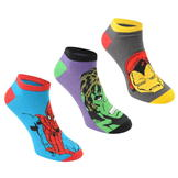 Character Trainer Socks 3 Pack Childrens Marvel