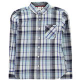 Lee Cooper Long Sleeve Checked Shirt Junior Boys White/Navy/Blue