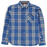 Lee Cooper Long Sleeve Checked Shirt Junior Boys Blue/White/Navy