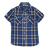 Lee Cooper Short Sleeve Check Shirt Junior Boys Navy/Royal/Whte