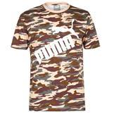 Puma Camo Logo QT T Shirt Mens Camo AOP